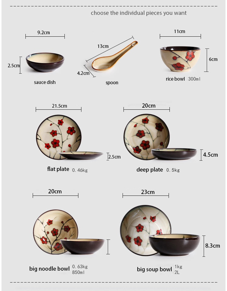 Japanese Red Plum Porcelain Tableware Japan On-Glaze Ceramic Dinnerware Dinner Sets JPN Style Z
