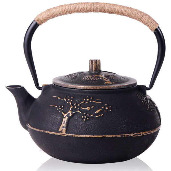 Japanese Cast Iron Teapot Kettle With Stainless Steel Infuser Strainer Japan Plum Blossom JPN Style