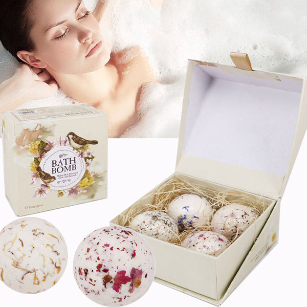 4 Piece Natural Sea Salt Bath Ball Set Lavender Rose Flower Bubble Bath Bombs GIFT