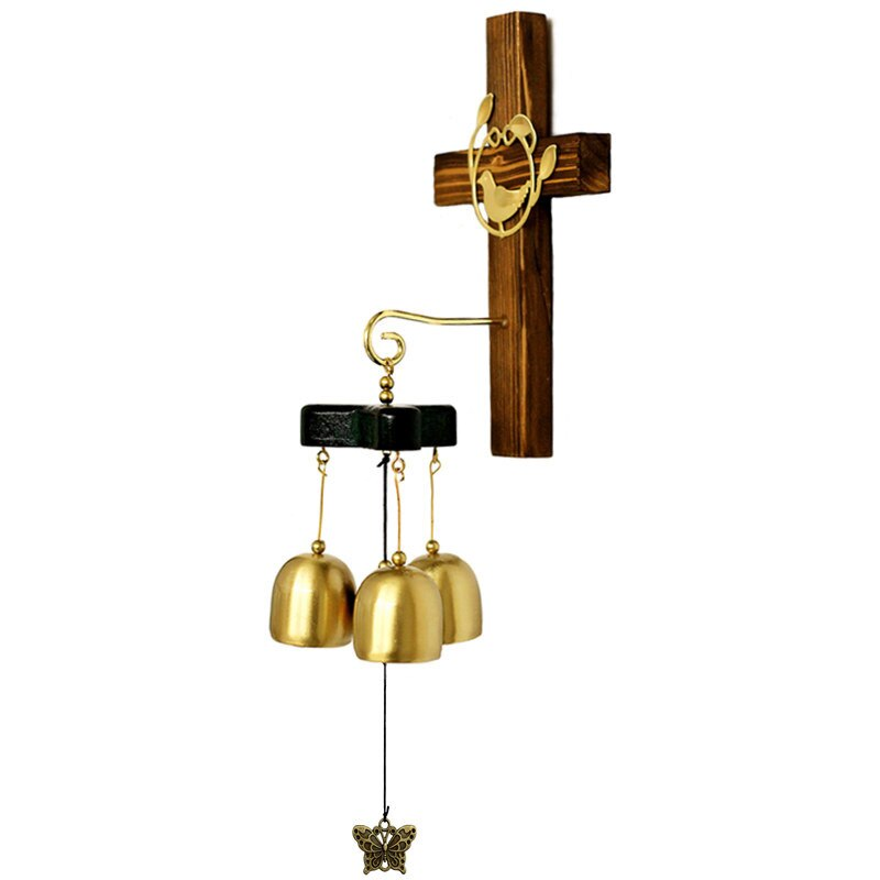Cross Copper Wind Chime 3-Bell Metal Home And Garden Decoration Hanging Decor Door Ornament