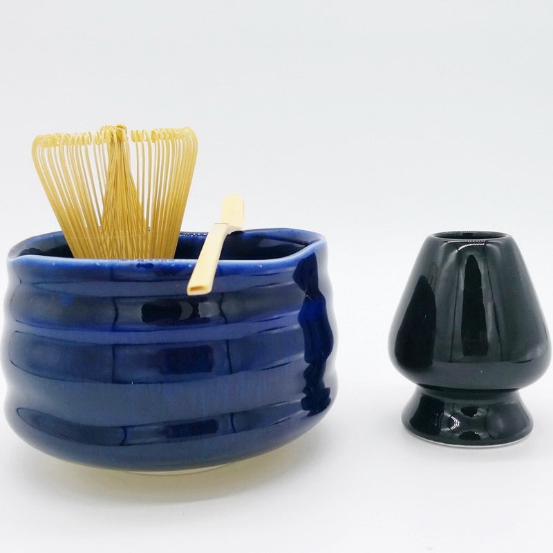 Trend 4 Piece Japanese Royal Blue Porcelain Matcha Tee Powder Set Japan matcha green tea whisk tea sets Natural matcha bowl tea ceremony set