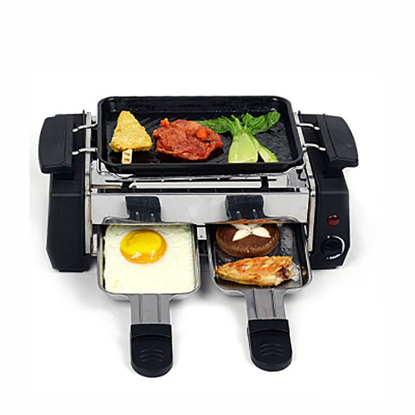 Electric Raclette Grill Griddle Non-Stick Smokeless BBQ Barbecue Grille Home Kitchen Electrical Appliance Family Style