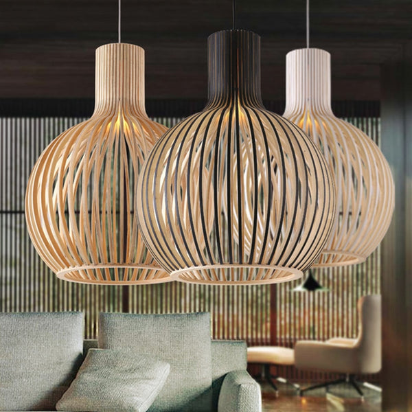 Japanese Modern Black Wood Birdcage Pendant light Nordic home deco bamboo weaving wooden Pendant Lamps Japan Home Decor Lighting Fixtures Accessories