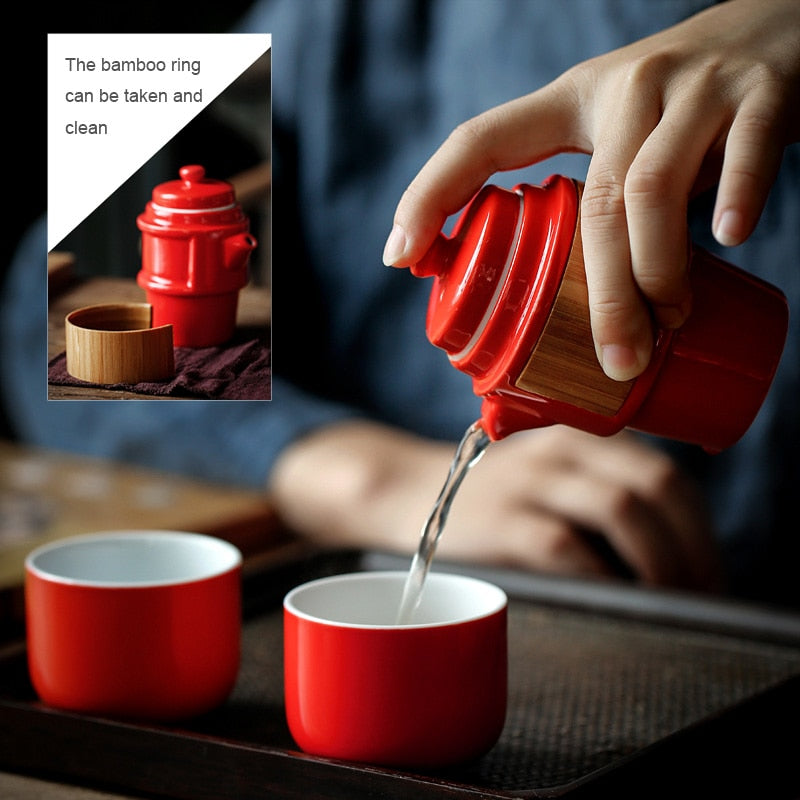 Japan Red Porcelain Travel Kung Fu Tea Sets Ceramic Portable Tea Ceremony Set Japanese Traditional Modern Style Yoga
