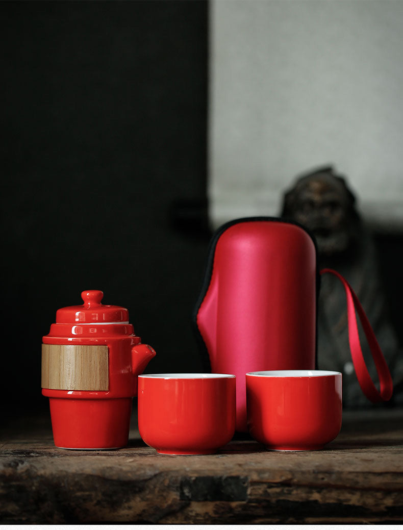 Japan Red Porcelain Travel Kung Fu Tea Sets Ceramic Portable Tea Ceremony Set Japanese Traditional Modern Style Compact
