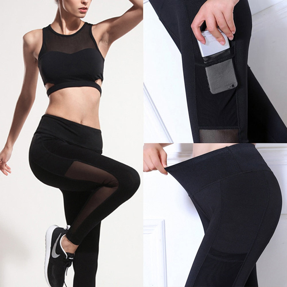 Womens sports black mesh leggings yoga pants Gym Workout legins Running sport Pants fitness Sexy Tights trousers for woman activewear Sportswear Apparel Fashion F
