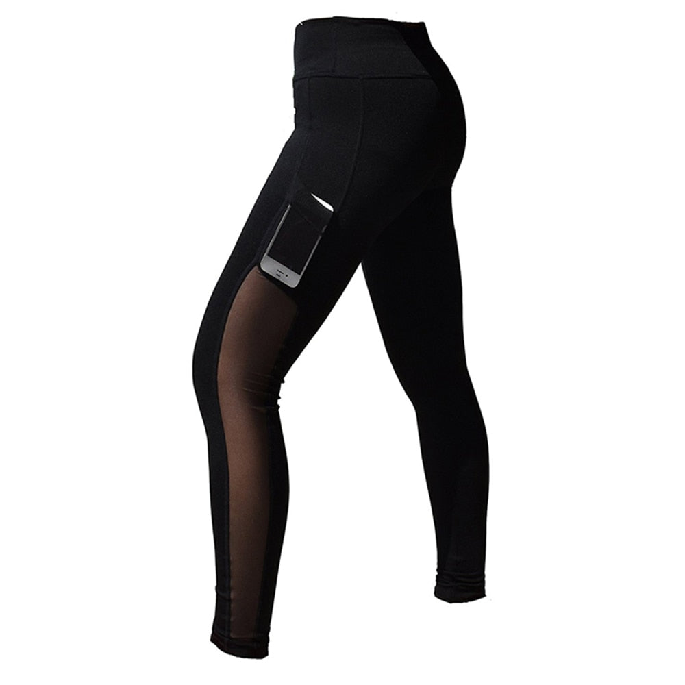 Womens sports black mesh leggings yoga pants Gym Workout legins Running sport Pants fitness Sexy Tights trousers for woman activewear Sportswear Apparel Fashion L