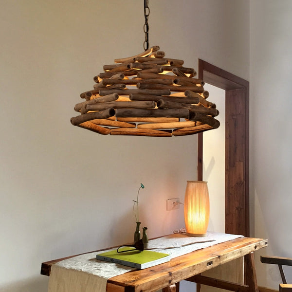 Creative single head LED wood Pendant Lights solid modern Japanese tatami droplight lamp restaurant hanglamp Japan Lighting Home Decor Fixtures Accessories