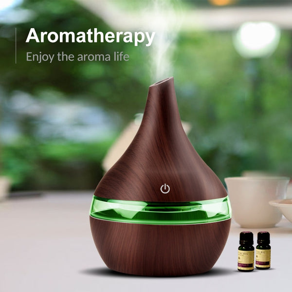 300ML USB Electric Aroma Air Diffuser Wood Ultrasonic Air Humidifier Essential Oil Aromatherapy Cool Mist Maker Air Purification Purifiers For Home Decor Accessories