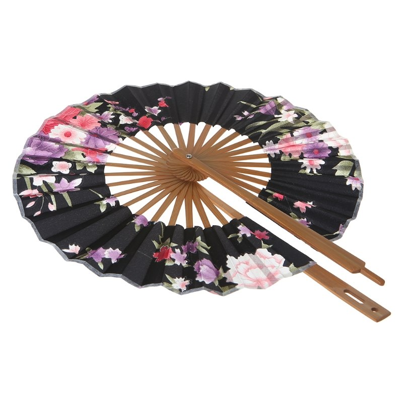 Japanese Black Sakura Flower Folding Hand Fan Fashion Accessories Style Tradition