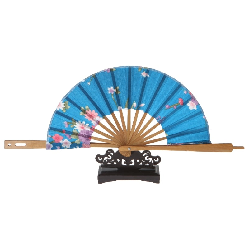 Japanese Blue Sakura Flower Folding Hand Fan Fashion Accessories Style Traditional