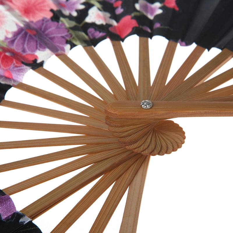 Japanese Black Sakura Flower Folding Hand Fan Fashion Accessories Style Classic