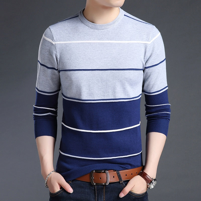 Trendy Mens Blue Striped Slim Fit Crewneck Woolen Knitted Japanese Casual Sweater Men Stripe Jumper Pullover Clothes Fashion Apparel Style