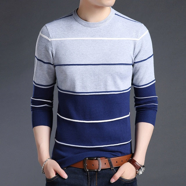 Trend Mens Blue Striped Slim Fit Crewneck Woolen Knitted Japanese Casual Sweater Men Stripe Jumper Pullover Clothes Fashion Apparel Style