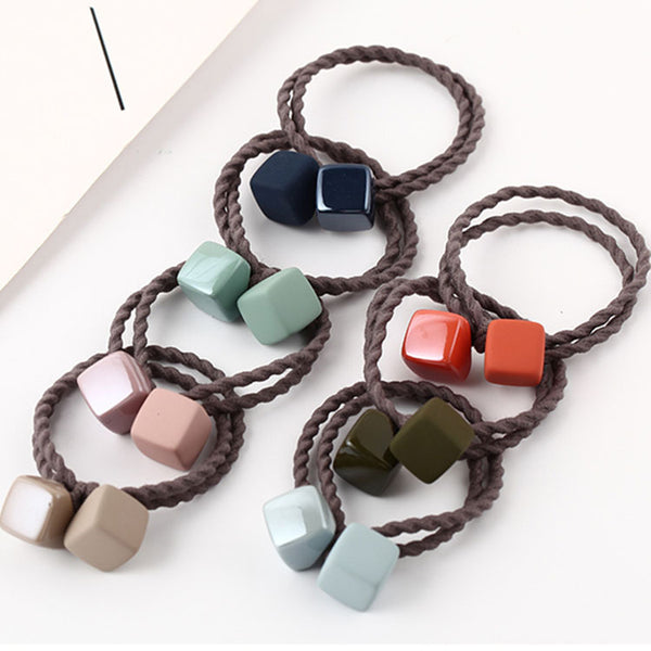 Elegant Square Hair Bands Rope Scrunchies Elastic Hair Rubber Bands Gum Ties Headdress Accessories