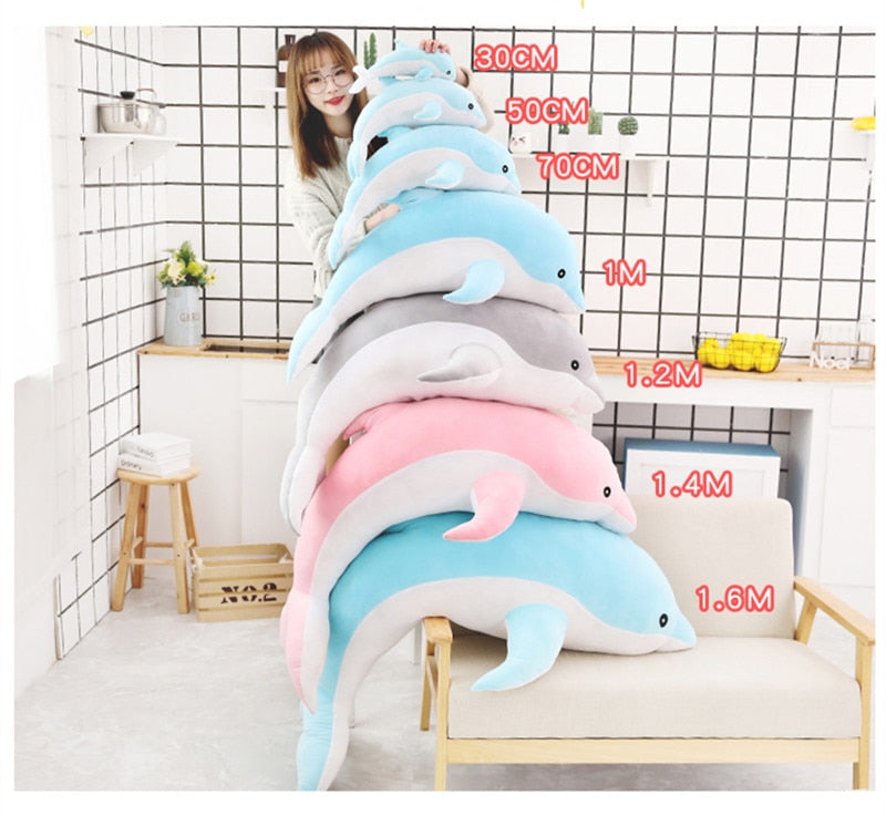 1 Piece 50cm - 140cm Giant Dolphin Plush Doll Toy Soft Stuffed Dolls Animal Pillow Kawaii Office Nap Pillow Kids Adult Toys Christmas Birthday Gift Size Chart