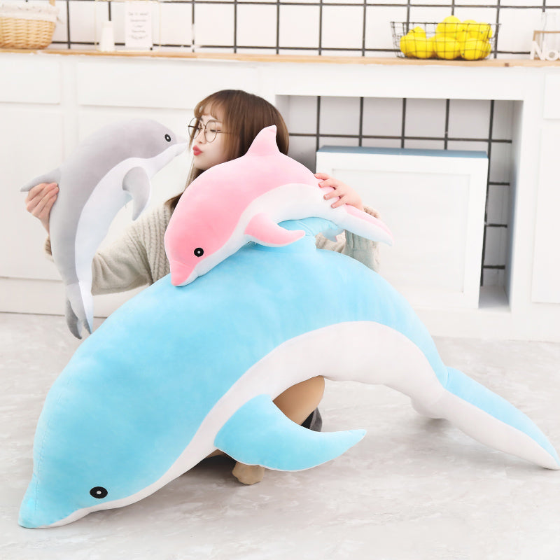 Cute 1 Piece 50cm - 140cm Giant Dolphin Plush Doll Toy Soft Stuffed Dolls Animal Pillow Kawaii Office Nap Pillow Kids Adult Toys Christmas Birthday  Gift