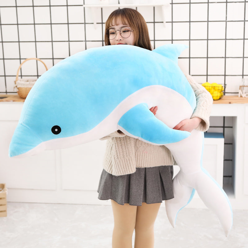 Anime Dolphin Plush Doll Toy Blue Soft Stuffed Dolls Pillow Toys