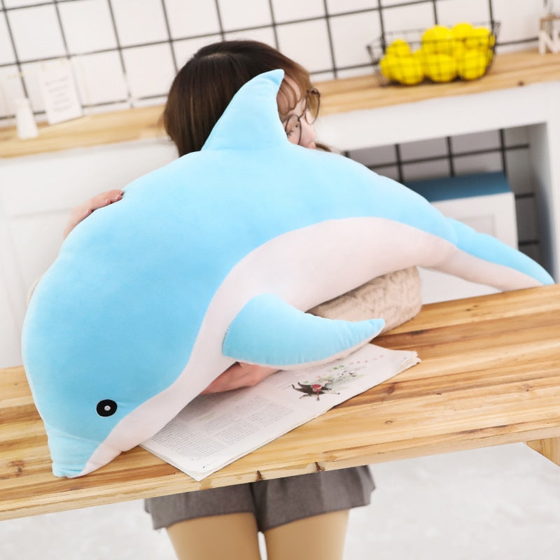 Adorable 1 Piece 50cm - 140cm Giant Dolphin Plush Doll Toy Soft Stuffed Dolls Animal Pillow Kawaii Office Nap Pillow Kids Adult Toys Christmas Birthday Gift