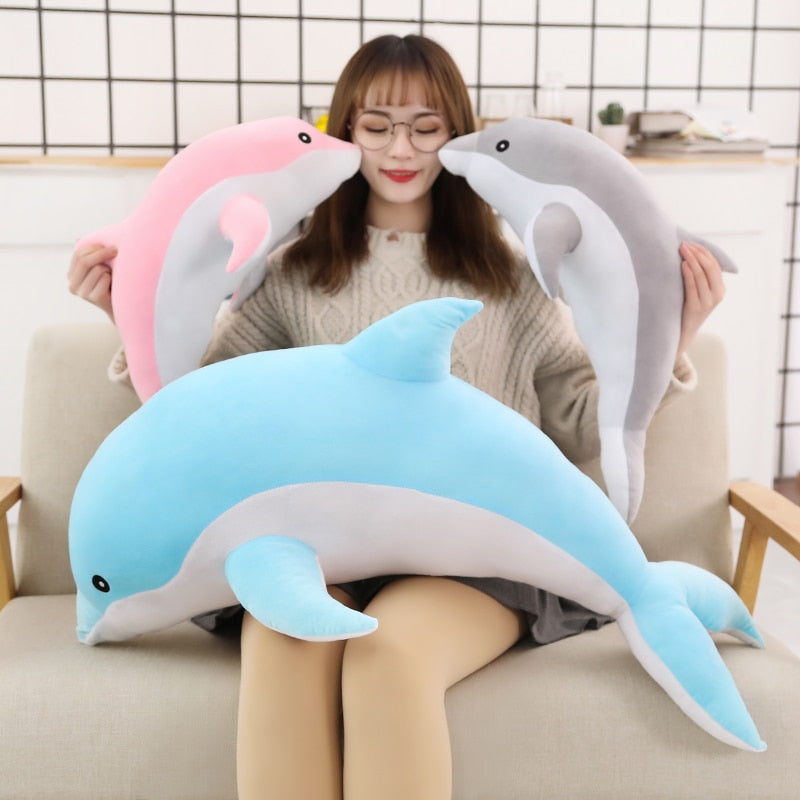 Adorable 1 Piece 50cm - 140cm Giant Dolphin Plush Doll Toy Soft Stuffed Dolls Animal Pillow Kawaii Office Nap Pillow Kids Adult Toys Christmas Birthday Gift Bedroom Accessories