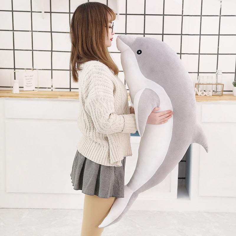 1 Piece 50cm - 140cm Giant Gray / Grey Dolphin Plush Doll Toy Soft Stuffed Dolls Animal Pillow Kawaii Office Nap Pillow Kids Adult Toys Christmas Birthday Gift
