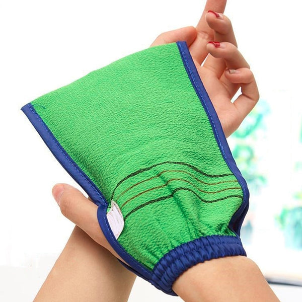 1 Piece Shower Spa Exfoliator Two-sided Bath Glove Body Cleaning Body Scrub Mitt Rub Dead Skin Removal Bath Accessories