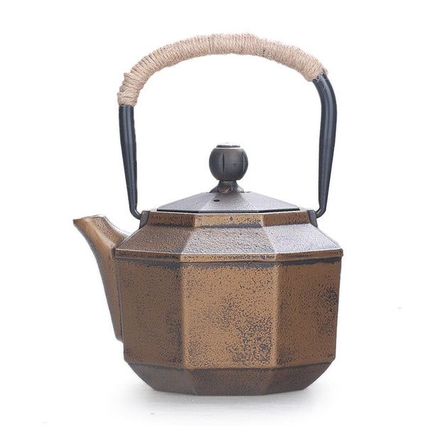 Handmade 0.85L Japanese old Cast iron Tea Kettle Octagonal golden non-coated Kung Fu teapot water kettle Japan drinkware tea pot