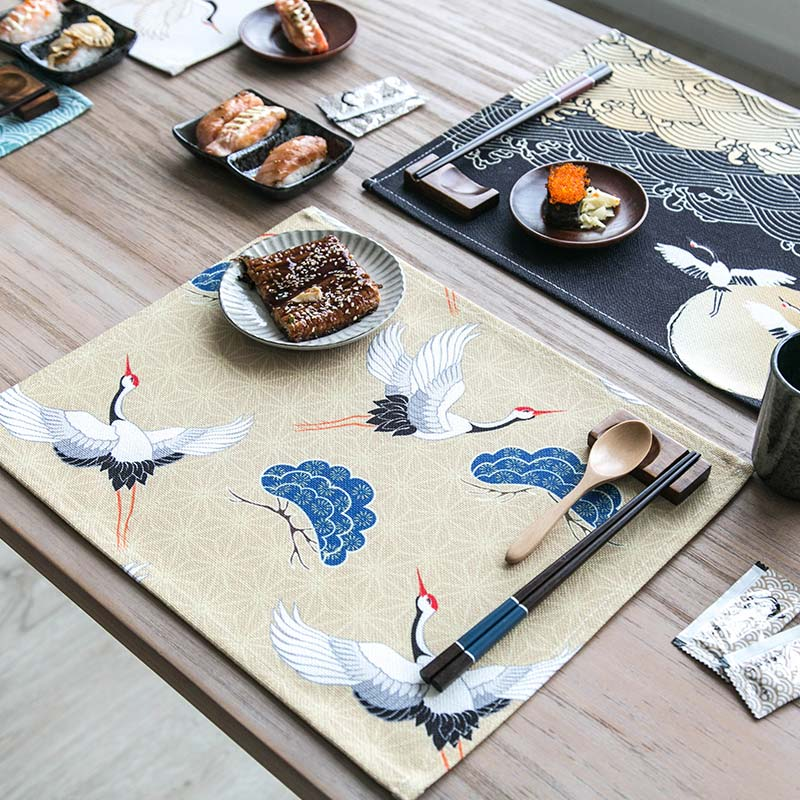 Japanese Crane Pattern Table Placemats for Table Set Cotton Linen Japan Dining Room Home Accessories Kitchen Pad Coffee Tea Place Mats