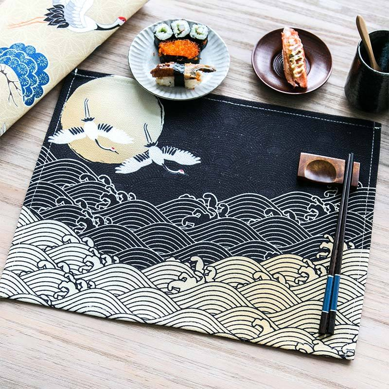 Trending Japanese Crane Pattern Table Placemats for Table Set Cotton Linen Japan Dining Room Home Accessories Kitchen Pad Coffee Tea Place Mats