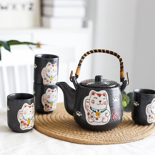 Japanese Ceramic Cute Cat Tea Set Tea Pot Tea Cup Water Cup Maneki Neko Design Porcelain Kettle Japan Teaware Set (4 cups+1 teapot)