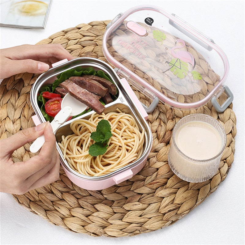 Portable Japanese Lunch Box With Compartments Tableware 304 Stainless Steel Kids Bento Box Japan Microwave Food Container Detail