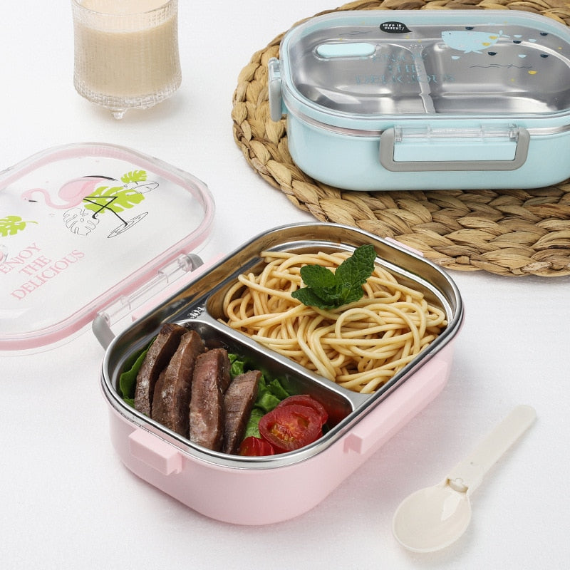 Portable Japanese Lunch Box With Compartments Tableware 304 Stainless Steel Kids Bento Box Japan Microwave Food Container Details