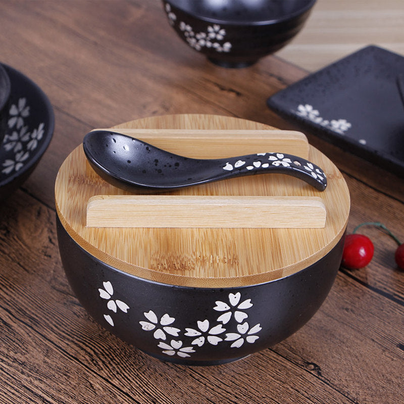Trendy Japanese sakura soup ramen noodle bowl box Classic vintage black ceramic bowl with a spoon and chopsticks cover Japan Cuisine tableware