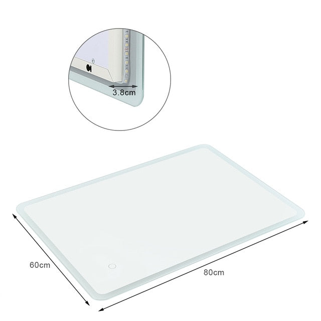Bathroom Vanity Make-up LED Mirror Cosmetics Touch Dimmer Metal Frameless Wall Mounted for Bath Room Mirror HWC Home Decor Furnishing Accessories Size Chart
