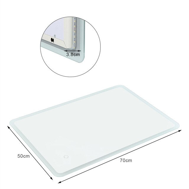 Bathroom Vanity Make-up LED Mirror Cosmetics Touch Dimmer Metal Frameless Wall Mounted for Bath Room Mirror HWC Home Decor Furnishing Accessories Size Information