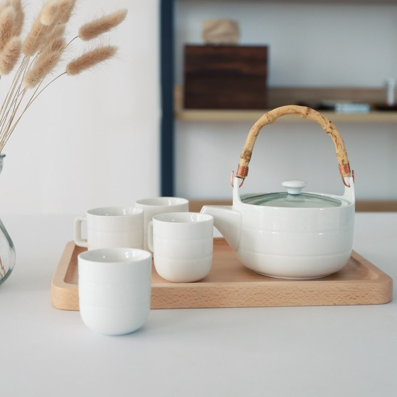 Japanese Ceramic Tea Set Bamboo handle teapot flower grass tea pot water cup Japan white ceramic tea set glass teaware wooden tray plate