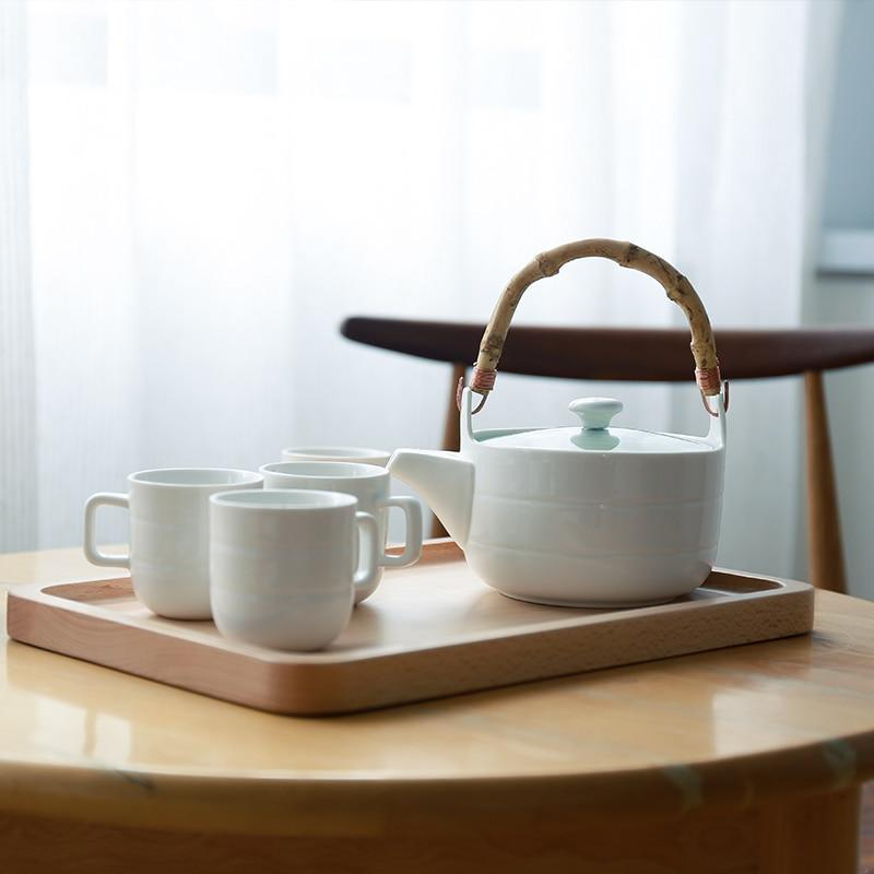 Trend Japanese Ceramic Tea Set Bamboo handle teapot flower grass tea pot water cup Japan white ceramic tea set glass teaware wooden tray plate Detail