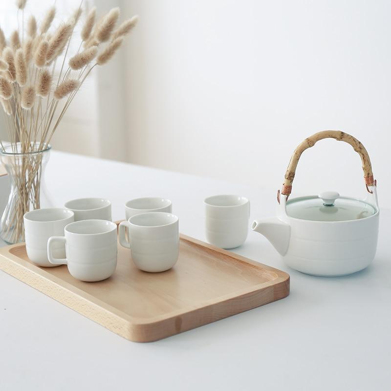 Trend Japanese Ceramic Tea Set Bamboo handle teapot flower grass tea pot water cup Japan white ceramic tea set glass teaware wooden tray plate
