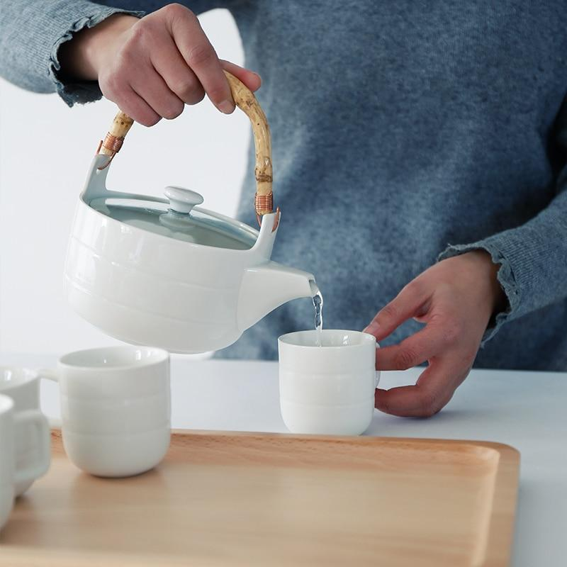 Trending Japanese Ceramic Tea Set Bamboo handle teapot flower grass tea pot water cup Japan white ceramic tea set glass teaware wooden tray plate