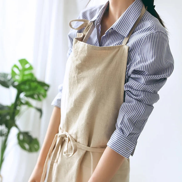 Japanese Khaki Beige Pastoral Apron Kitchen Apparel Bibs