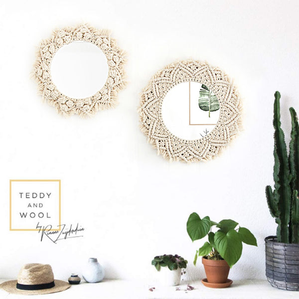 Trend Macrame Wall Mirrors Tapestry Decorations Bohemia Creative Art Decoration Wall Tapestry Farmhouse Background Home Decor Furniture Accessories