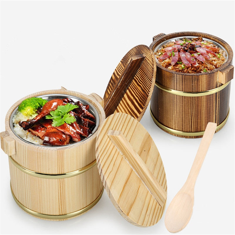 Wooden Rice Bucket Wood Kegs Beer Bar Wooden Barrels thermos tableware Kitchen Storage Accessories
