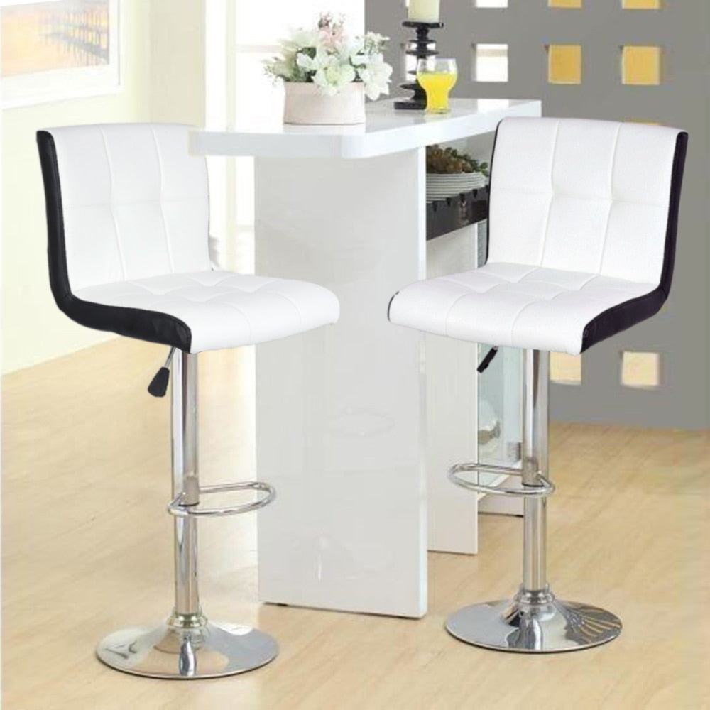 White 2 Piece Pair Swivel Rotating Height Bar Stool Set Modern Soft Bar Chair Lifting Silla Barstool Kitchen Home Furniture HWC