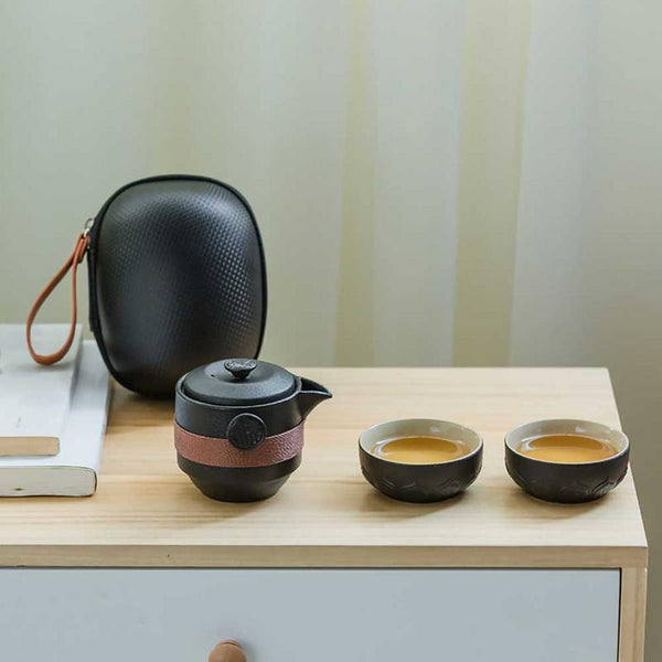 Japanese Black Pottery One Pot Two Cups Tea Sets Japan Portable Travel Home Office Cups Ceramic Tea Coffee Container With Bag
