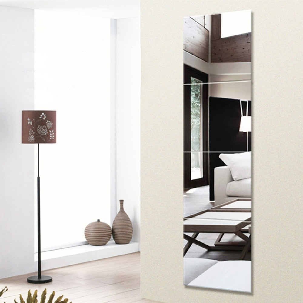Trendy 4 Piece 22*22cm Durable Removable Dressing Mirror Wall Stickers Full Length Mirror Living Room/Kids Bedroom For Home Decor