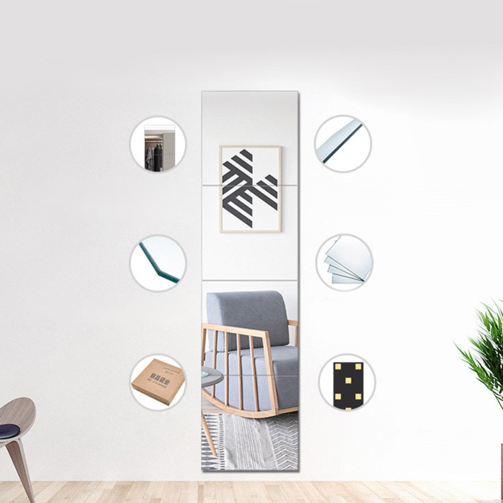 Elegant 4 Piece 22*22cm Durable Removable Dressing Mirror Wall Stickers Full Length Mirror Living Room/Kids Bedroom For Home Decor