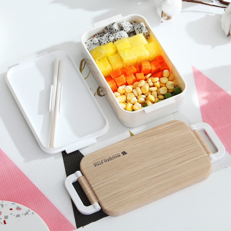Trend Japanese Wooden Lunch Box Wooden Salad Bento Boxes Portable Microwave Food Container For School Office Camping