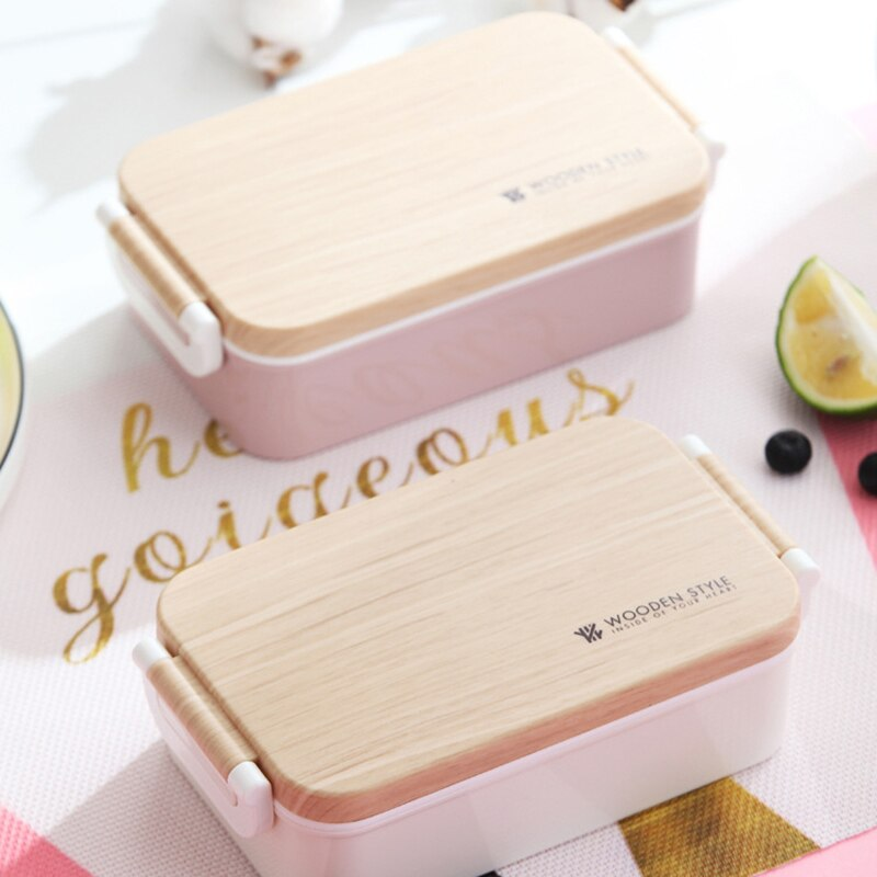 Contemporary Japanese Wooden Pink Lunch Box Wooden Salad Bento Boxes Portable Microwave Food Container For School Office Camping