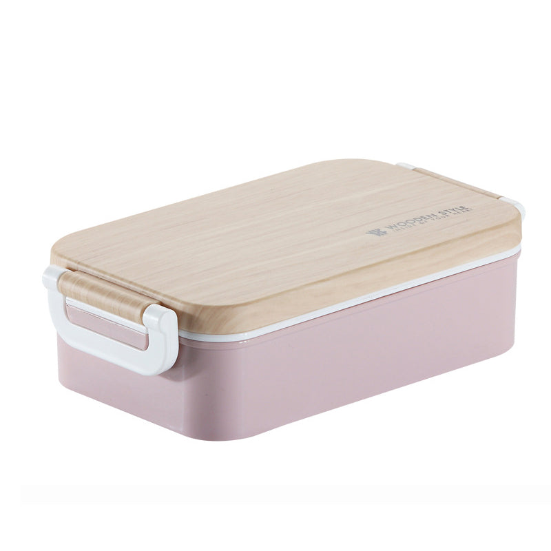 Japanese Wooden Pink Lunch Box Wooden Salad Bento Boxes Portable Microwave Food Container For School Office Camping