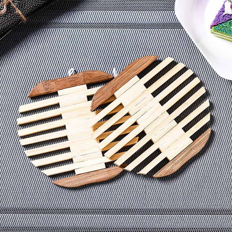Trending Japanese Wooden Bamboo Table Mat Kitchen Pad Mat Non-slip Insulation Heat Holder Coasters Stand Hot Mats Apple Fish Shaped set Japan Dining Room Tableware